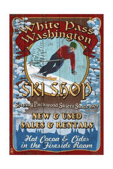 White Pass, Washington - Ski Shop Vintage Sign-Lantern Press-Art Print