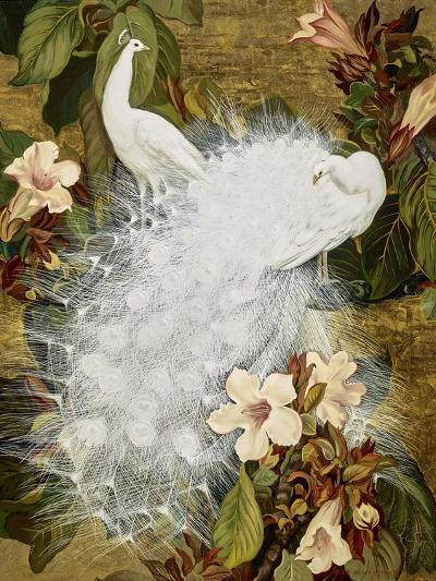 White Peacocks on Pink Hibiscus-Jesse Arms Botke-Art Print