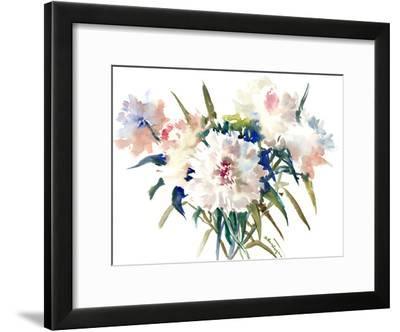 White Peonies 2-Suren Nersisyan-Framed Art Print
