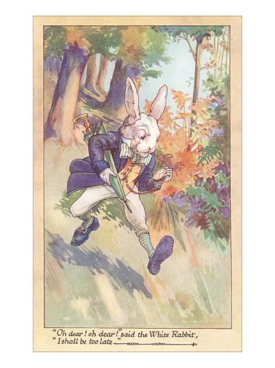 White Rabbit Checking Watch--Art Print
