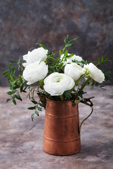 White Ranunculus Flowers Brown Background-Anna Pustynnikova-Photographic Print