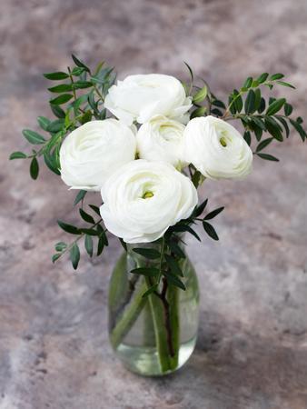 White ranunculus flowers in vase grey background photographic print white ranunculus flowers in vase grey background photographic print by anna pustynnikova art mightylinksfo