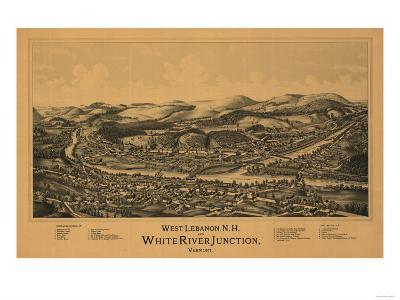 White River Junction, Vermont - Panoramic Map-Lantern Press-Art Print