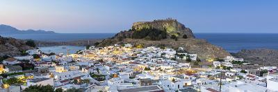 White Rooftops of Lindos with the Acropolis of Lindos, Rhodes, Dodecanese, Greek Islands, Greece-Chris Hepburn-Photographic Print