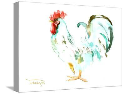 White Rooster-Suren Nersisyan-Stretched Canvas Print