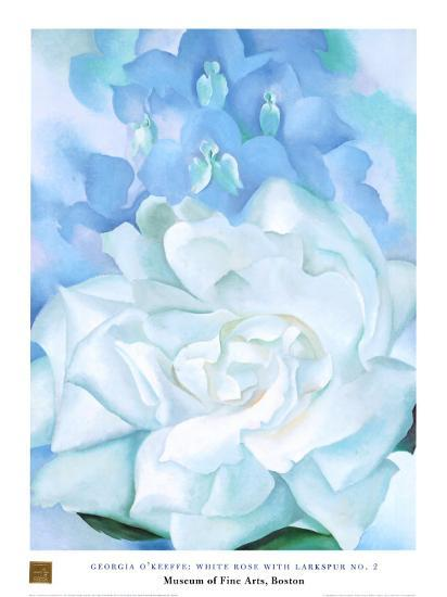 White Rose W/ Lakspur No.2-Georgia O'Keeffe-Art Print