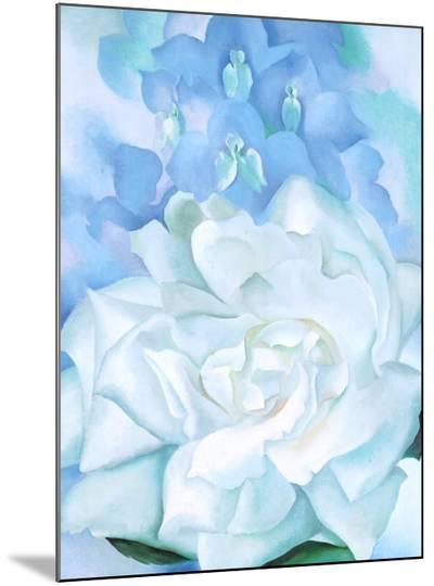White Rose W/ Lakspur No.2-Georgia O'Keeffe-Mounted Print