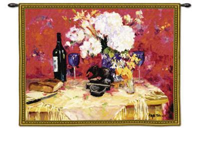 White Roses with Wine--Wall Tapestry