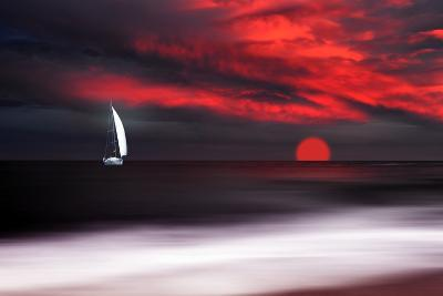 White sailboat and red sunset-Philippe Sainte-Laudy-Photographic Print