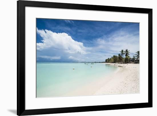 White sand and turquoise water in the beautiful lagoon of Funafuti, Tuvalu, South Pacific-Michael Runkel-Framed Photographic Print