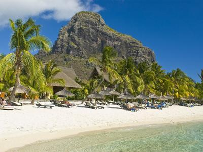 White Sand Beach of the Five Star Hotel Le Paradis, With Le Morne Brabant in Background, Mauritius--Photographic Print