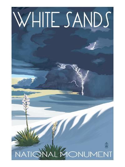 White Sands National Monument, New Mexico - Lightning Storm-Lantern Press-Art Print