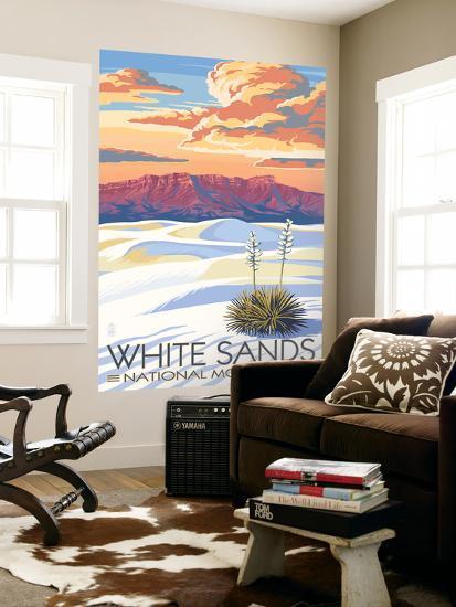 White Sands National Monument, New Mexico - Sunset Scene-Lantern Press-Wall Mural