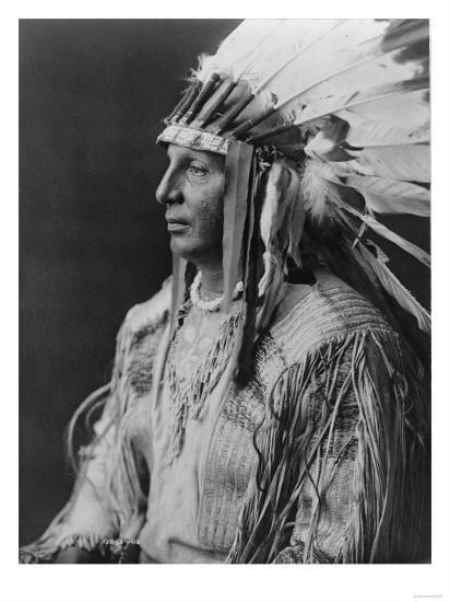 White Shield Arikara Native American Indian Curtis Photograph-Lantern Press-Art Print
