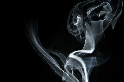 White Smoke Rising On Black Background-Ambient Ideas-Art Print