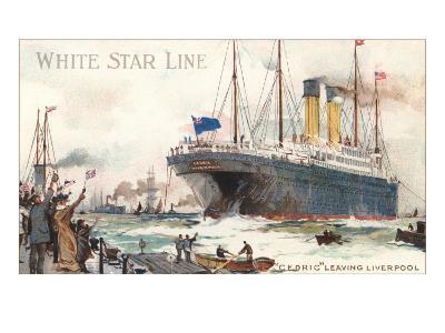 White Star Line, Cedric Leaving Liverpool--Art Print