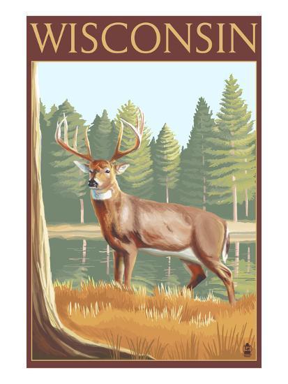White-Tailed Deer - Wisconsin-Lantern Press-Art Print