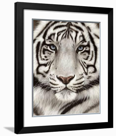 White Tiger Face Portrait-Rachel Stribbling-Framed Art Print