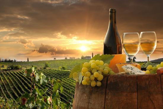 White Wine with Barrel on Vineyard in Chianti, Tuscany, Italy-extravagantni-Photographic Print