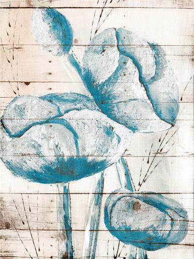 White Wood Blue Florals Mate-Jace Grey-Art Print