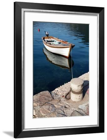 White Wooden Fishing Boat Floats Moored in Perast Town, Montenegro-Eugene Sergeev-Framed Photographic Print