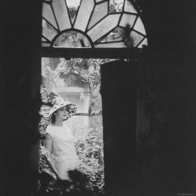 White Wool Dress with Taffeta Hat and Rose Design, by Cuban Designer, Ferreras-Gordon Parks-Photographic Print