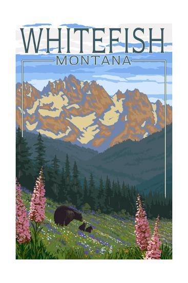 Whitefish, Montana - Bear and Spring Flowers-Lantern Press-Art Print