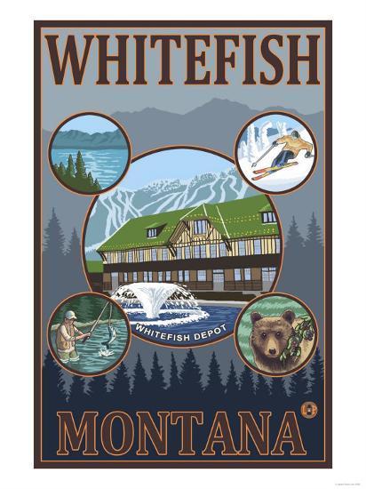 Whitefish, Montana - Scenic Travel Poster-Lantern Press-Art Print