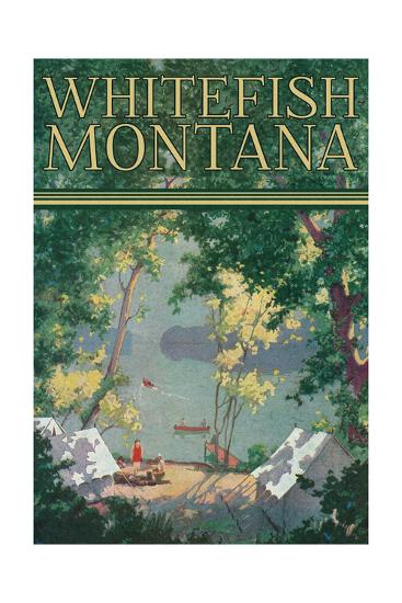 Whitefish, Montana - Scenic View of a Campground by a Lake - Poster-Lantern Press-Art Print
