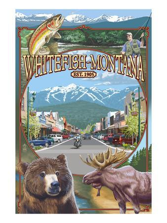 Whitefish, Montana Town Views-Lantern Press-Art Print