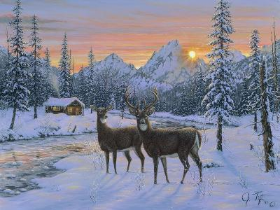 Whitetail and Cabin-Jeff Tift-Giclee Print
