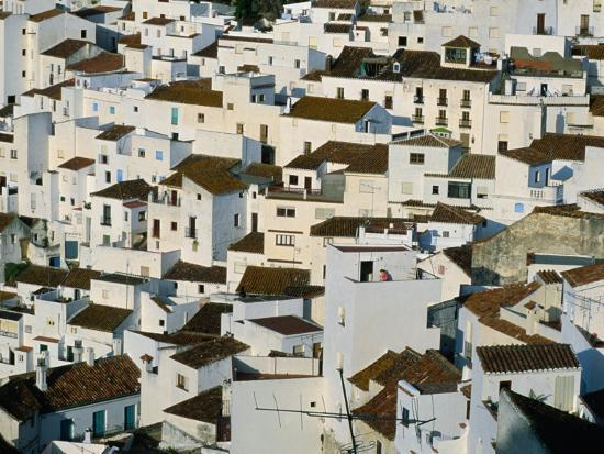 Whitewashed Village Houses of Casares, Clinging to Steep Hillsides, Malaga, Andalucia, Spain-David Tomlinson-Photographic Print