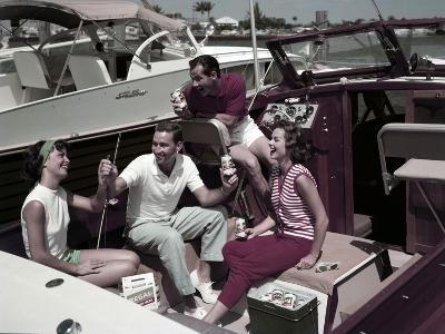 Who Needs to Leave the Dock When There's Beer on Board? the Boaters' Beverage--Photographic Print