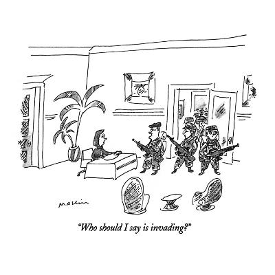 """""""Who should I say is invading?"""" - New Yorker Cartoon-Michael Maslin-Premium Giclee Print"""
