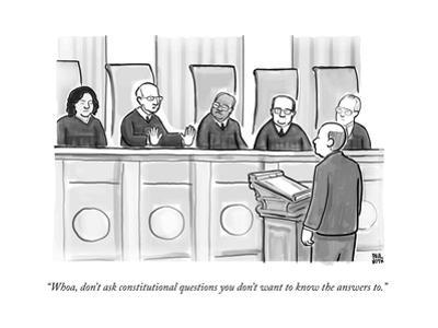"""""""Whoa, don't ask constitutional questions you don't want to know the answe..."""" - New Yorker Cartoon"""