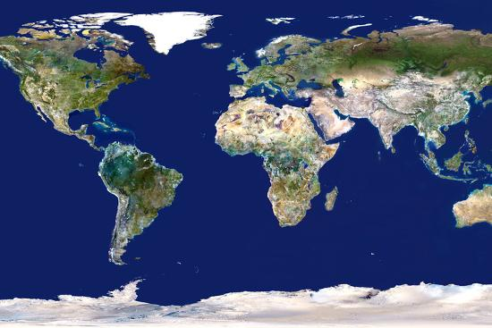Whole Earth Map Photographic Print by PLANETOBSERVER | Art.com