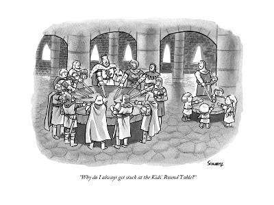 """Why do I always get stuck at the Kids' Round Table?"" - New Yorker Cartoon--Premium Giclee Print"