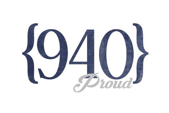 Wichita Falls, Texas - 940 Area Code (Blue)-Lantern Press-Art Print