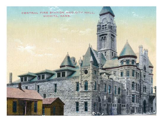 Wichita, Kansas - Central Fire Station and City Hall Exterior View-Lantern Press-Art Print