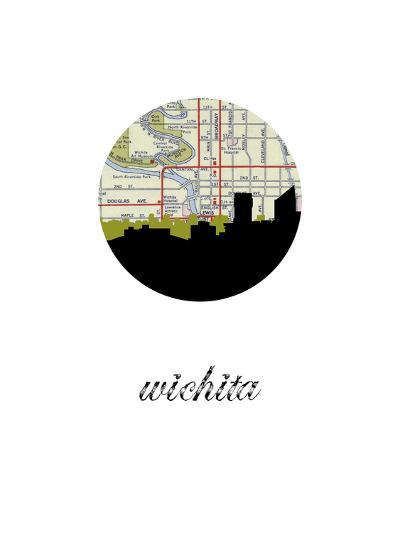 Wichita Map Skyline--Art Print