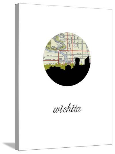 Wichita Map Skyline-Paperfinch 0-Stretched Canvas Print