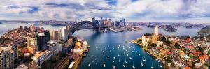 Wide Aerial Panorama of Sydney City CBD Landmarks on Shores of Sydney Harbour from Lower North Shor
