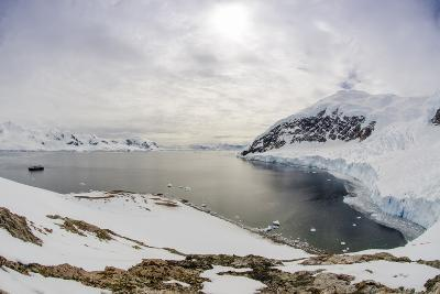 Wide Angle of a Ship and Glacier at Neko Harbor on the Antarctic Peninsula-Rich Reid-Photographic Print