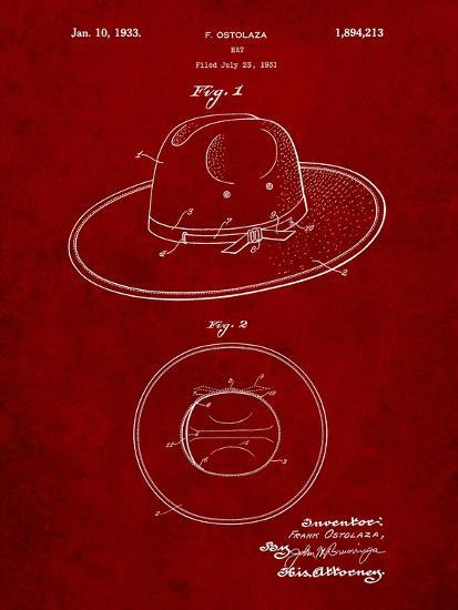 Wide Brimmed Hat 1937 Patent-Cole Borders-Art Print