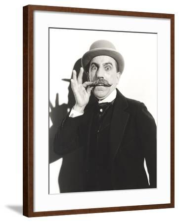 Wide-Eyed Man Touching His Mustache--Framed Photo