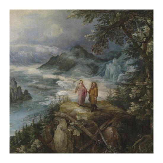 Wide Mountain Landscape with the Temptation of Christ-Pieter Bruegel the Elder-Premium Giclee Print