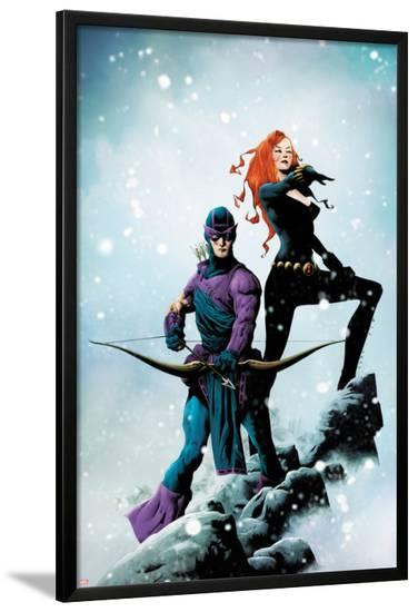 Widowmaker No.1 Cover: Hawkeye and Black Widow Posing-Jae Lee-Lamina Framed Poster