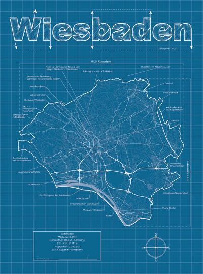 Wiesbaden Artistic Blueprint Map-Christopher Estes-Art Print