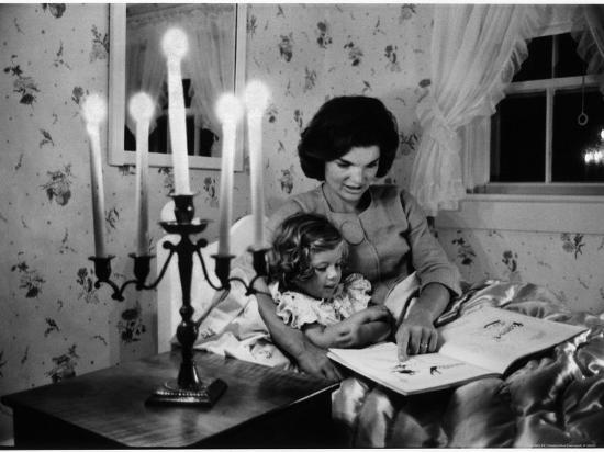 Wife of Senator Jackie Kennedy Reading Book to Her Daughter Caroline In Family's summer home-Alfred Eisenstaedt-Photographic Print