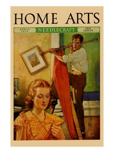 Wife Sews While a Man Hangs a Picture--Art Print